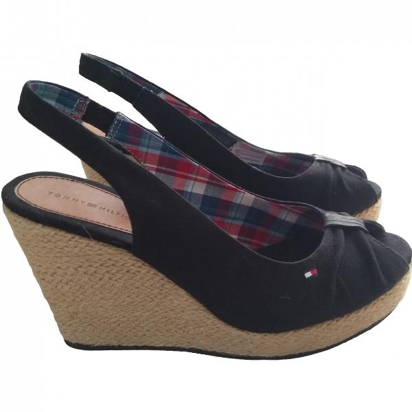 Tommy Hilfiger Black Cloth Sandals