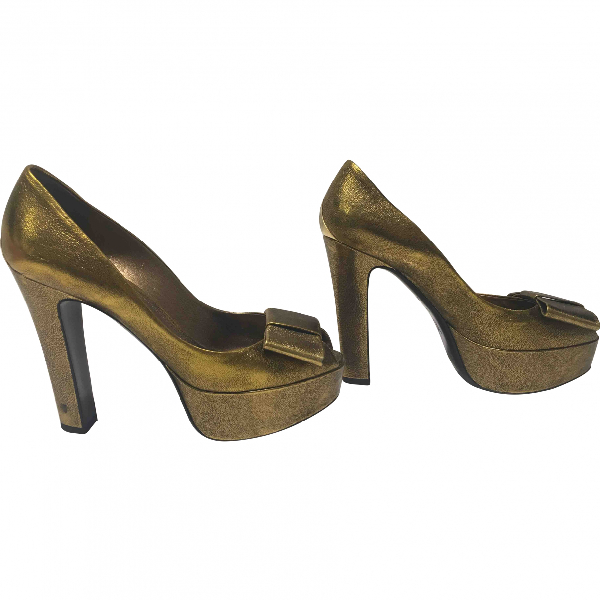 Louis Vuitton Gold Leather Heels