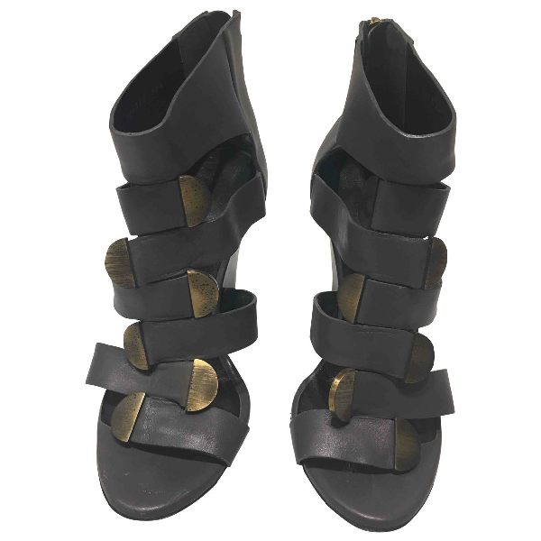 Balenciaga Grey Leather Sandals