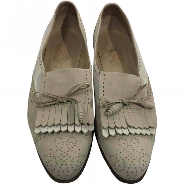 Salvatore Ferragamo Beige Leather Flats