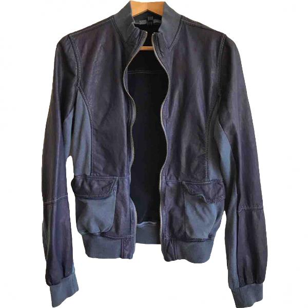 Blancha Blue Leather Leather Jacket