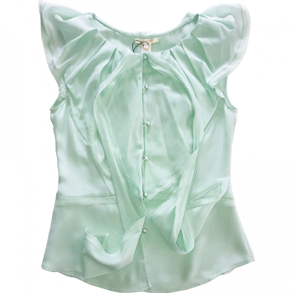 Zac Posen Green Silk  Top