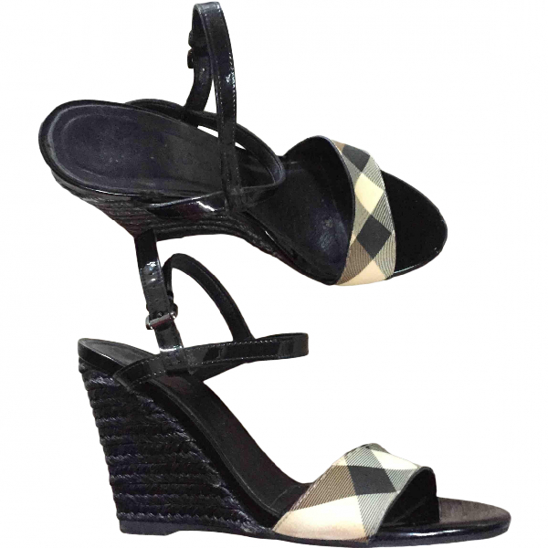 Burberry Black Leather Sandals