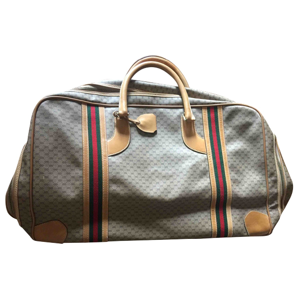 Gucci Brown Cloth Travel Bag
