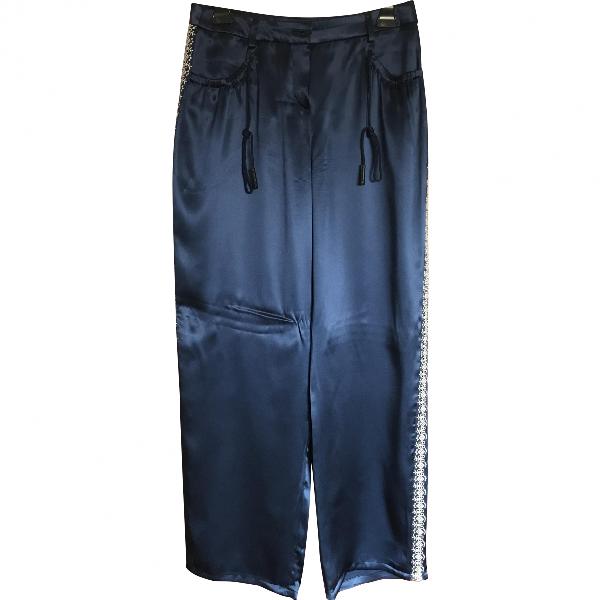 Emporio Armani Navy Silk Trousers