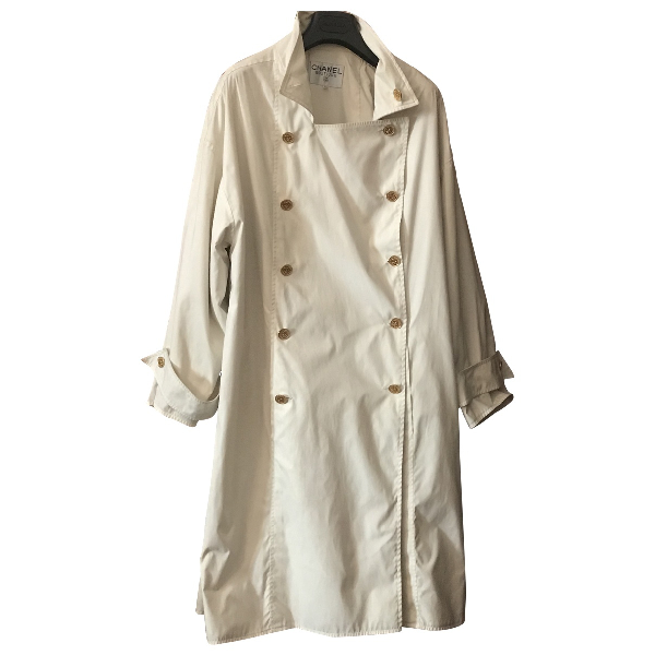 Chanel White Cotton Trench Coat