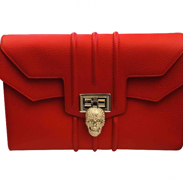 Philipp Plein Red Leather Clutch Bag