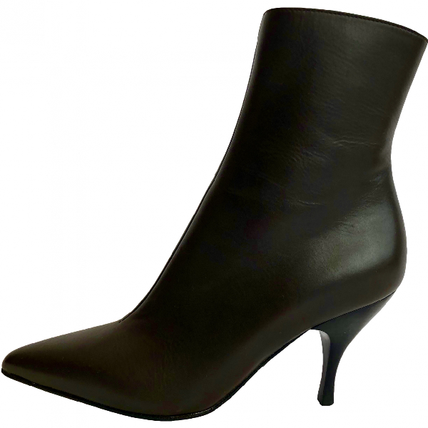 Gina Brown Leather Ankle Boots