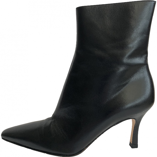Gina Black Leather Ankle Boots