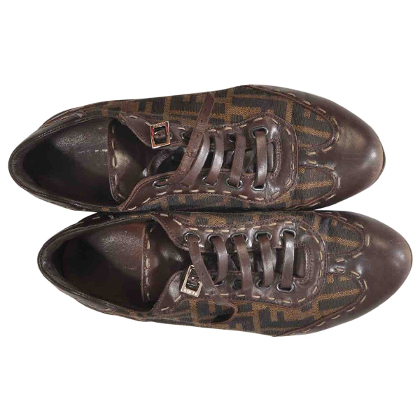 Fendi Brown Leather Trainers