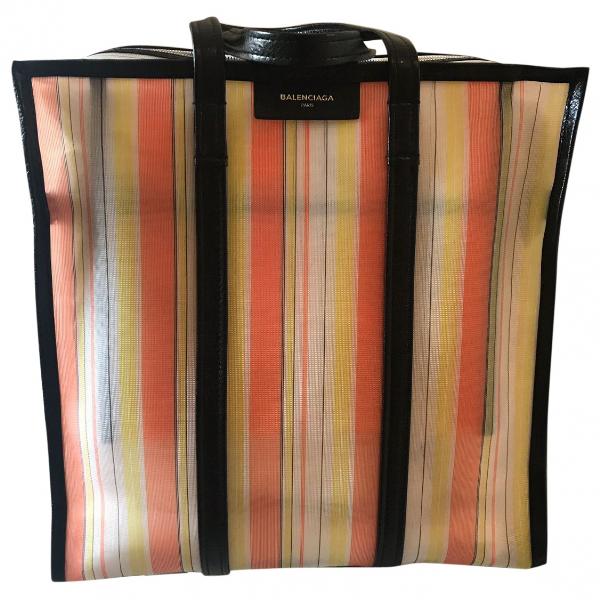 Balenciaga Bazar Bag Orange Cloth Handbag