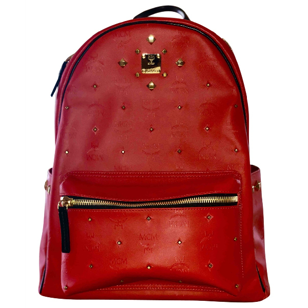 Mcm Red Leather Backpack