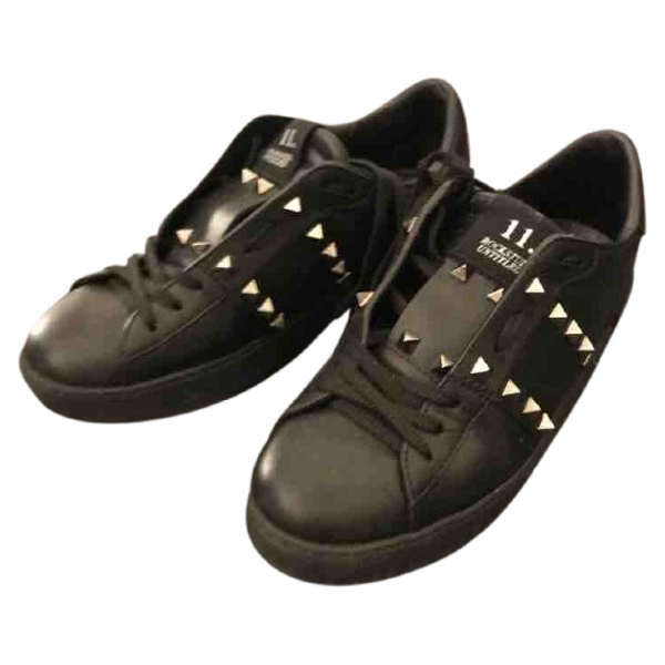 Valentino Garavani Rockstud Black Leather Trainers
