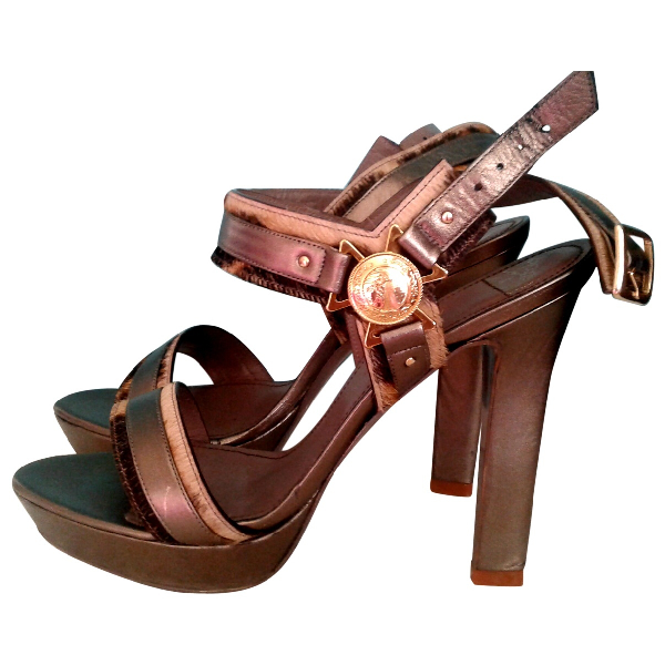 Versace Gold Leather Sandals