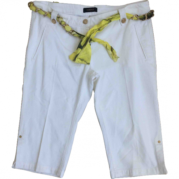 Versace White Cotton Trousers
