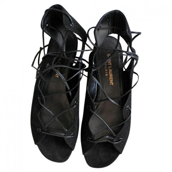 Saint Laurent Black Suede Sandals