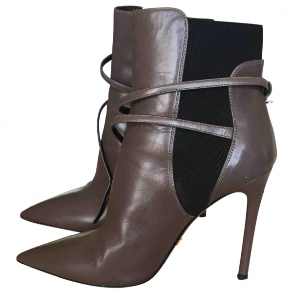 Prada Anthracite Leather Ankle Boots