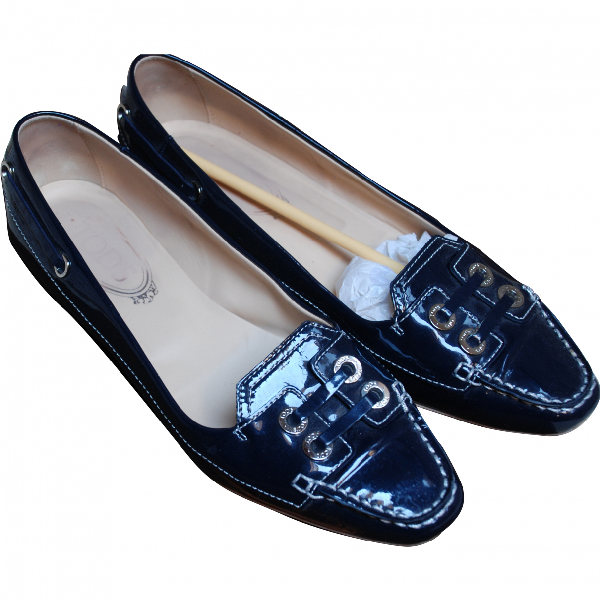 Tod's Blue Patent Leather Ballet Flats