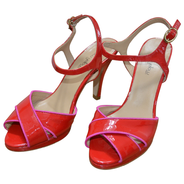 Mellow Yellow Red Patent Leather Sandals
