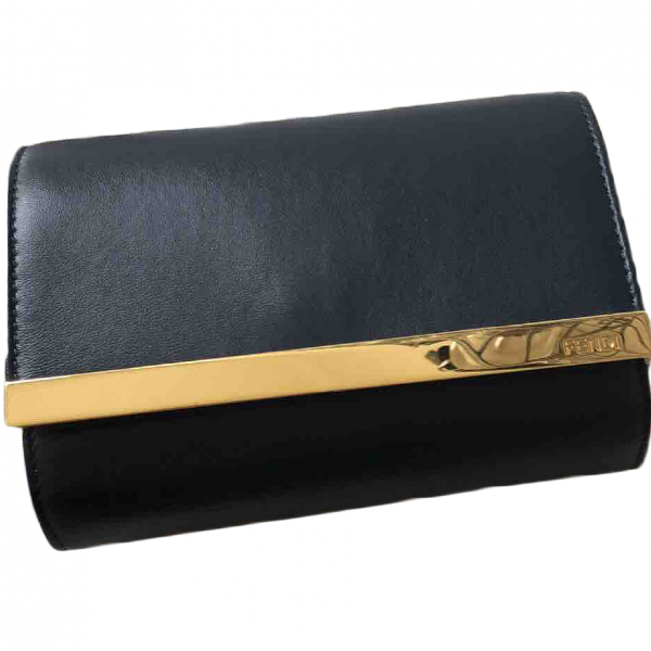Fendi Blue Leather Clutch Bag
