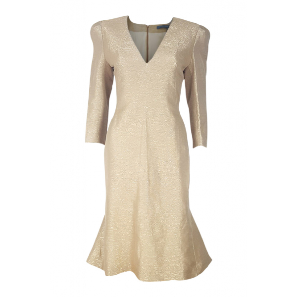 Alexander Mcqueen Gold Silk Dress