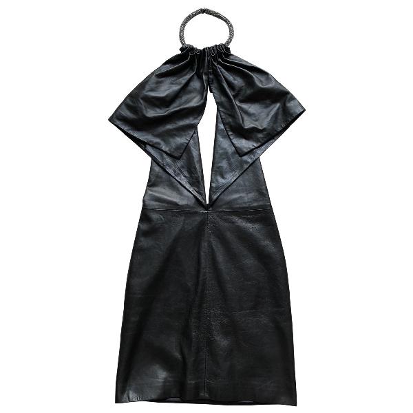 Saint Laurent Black Leather Dress