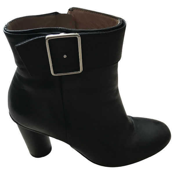 Claudie Pierlot Black Leather Ankle Boots