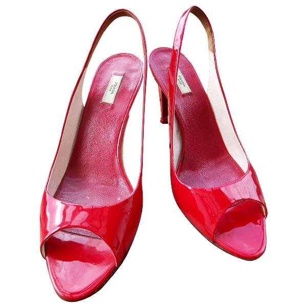 Prada Red Leather Sandals