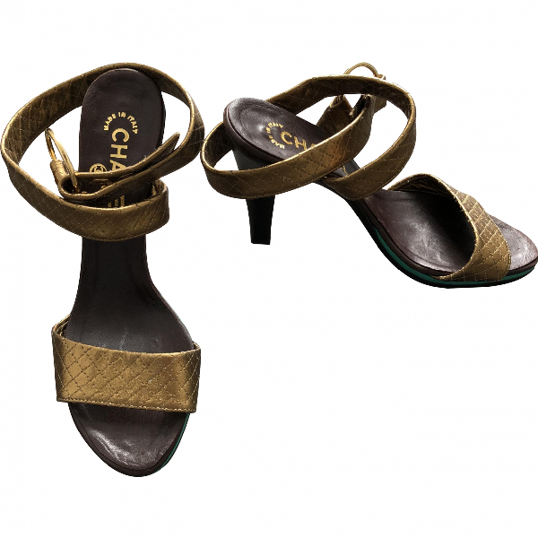 Chanel Gold Leather Sandals
