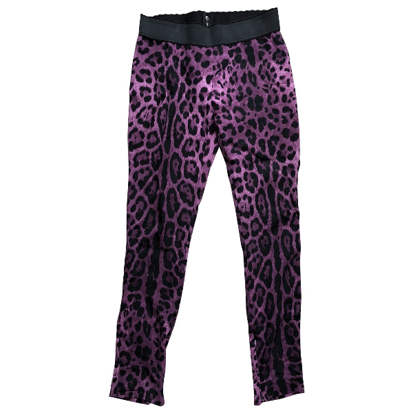 Dolce & Gabbana Purple Silk Trousers