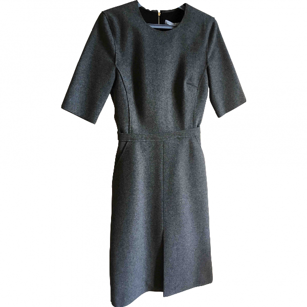 Victoria Beckham Grey Wool Dress
