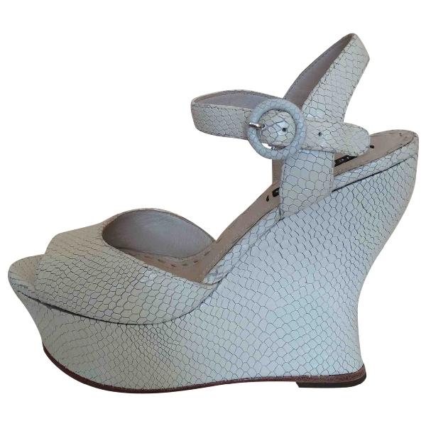 Alice And Olivia Ecru Leather Sandals