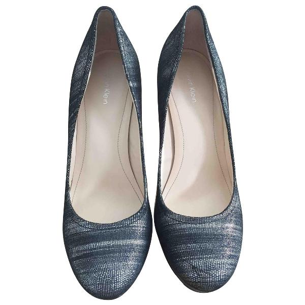 Calvin Klein Silver Leather Heels