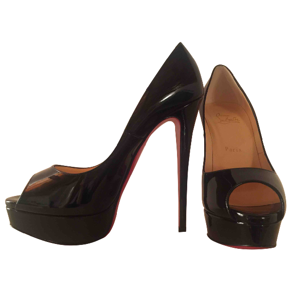 Christian Louboutin Lady Peep Black Patent Leather Heels