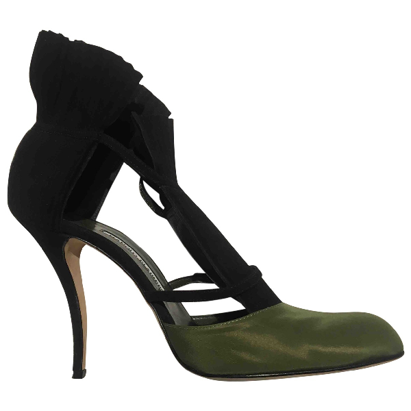 Manolo Blahnik Black Cloth Heels