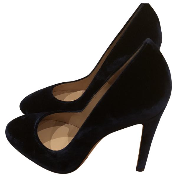 Gianvito Rossi Blue Velvet Heels