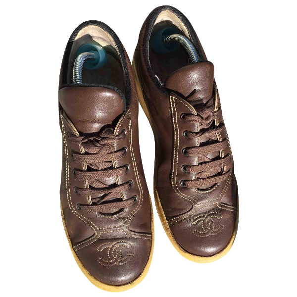 Chanel Brown Leather Trainers