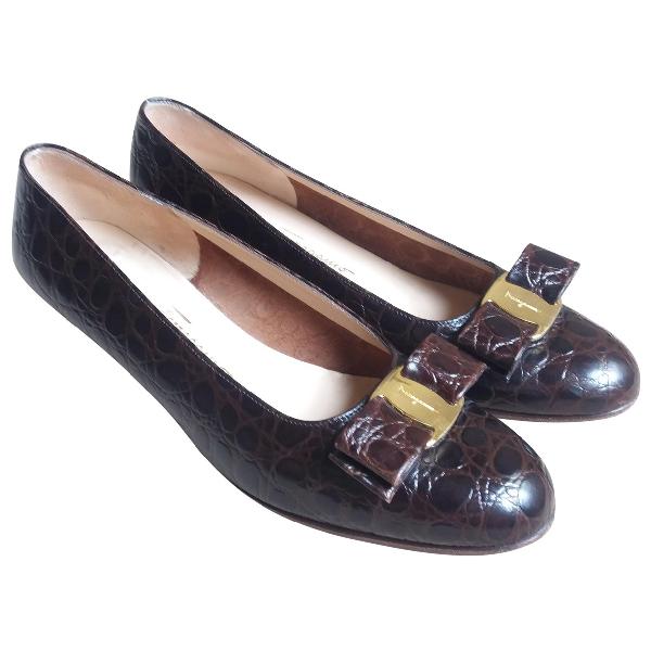 Salvatore Ferragamo Brown Leather Ballet Flats