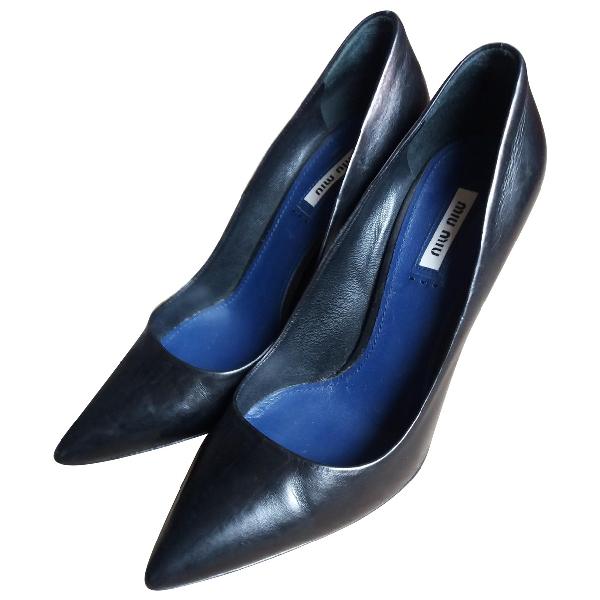 Miu Miu Black Leather Heels