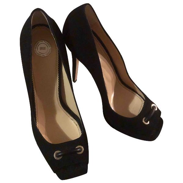 Elisabetta Franchi Black Suede Heels