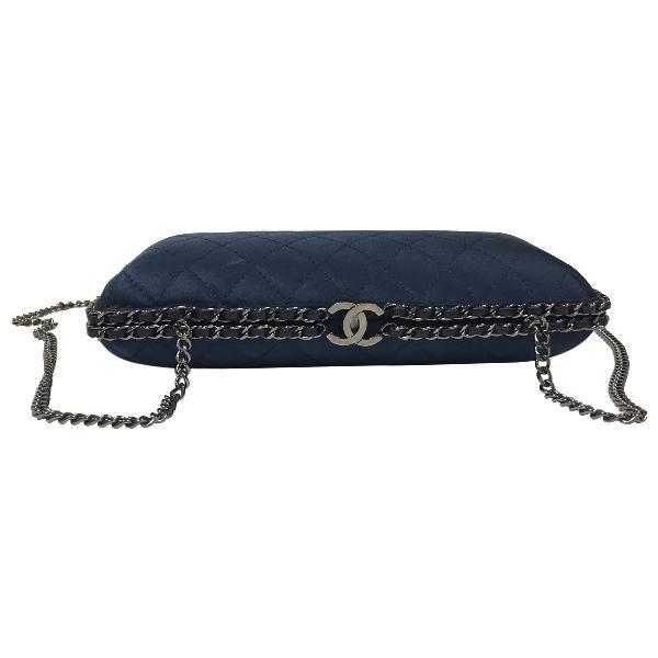 Chanel Blue Silk Clutch Bag
