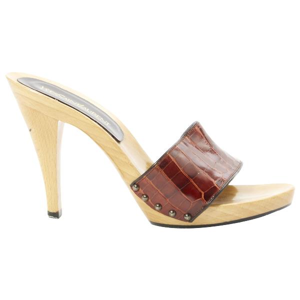 Saint Laurent Brown Leather Sandals