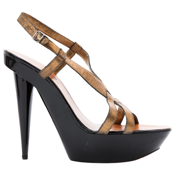 Lanvin Gold Leather Sandals