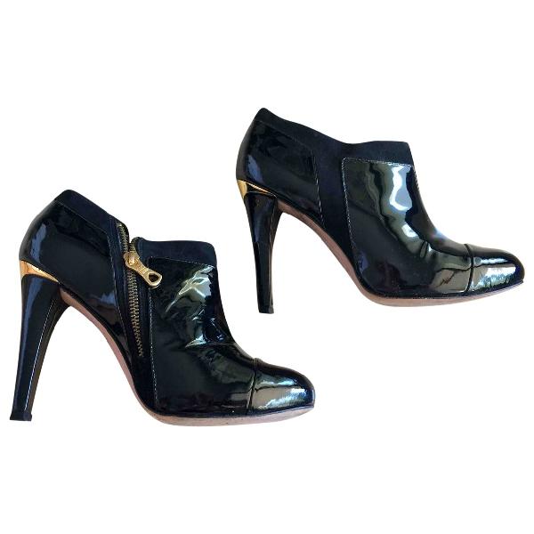 Bcbg Max Azria Black Patent Leather Ankle Boots