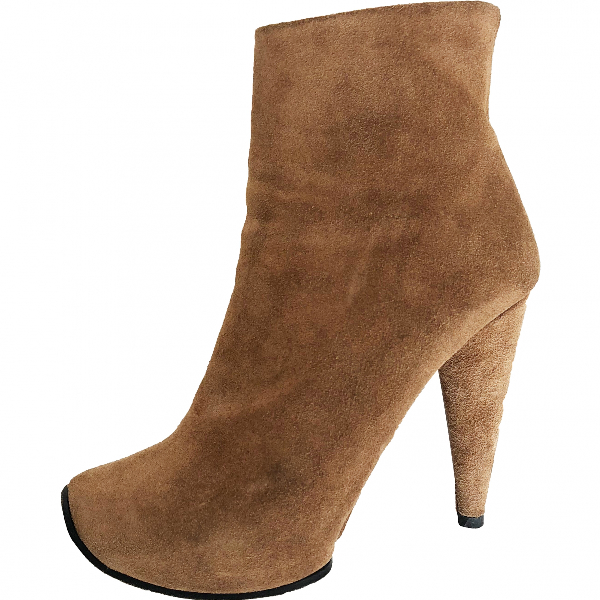 Acne Studios Camel Suede Ankle Boots