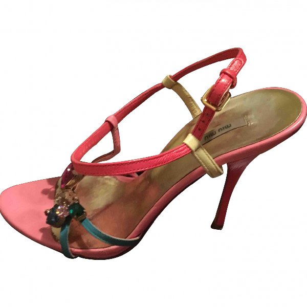 Miu Miu Pink Leather Sandals