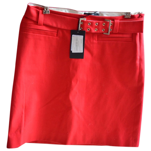 Hugo Boss Red Cotton Skirt