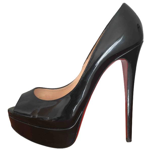 Christian Louboutin Lady Peep Black Patent Leather Heels