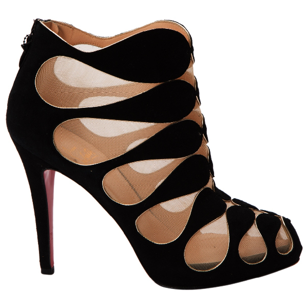 Christian Louboutin Black Suede Ankle Boots