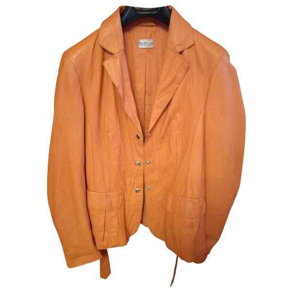 Philosophy Di Alberta Ferretti Orange Leather Jacket